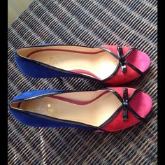 Kate Spade Pumps Kate Spade New York These are a perfect addition to any outfit. A combination of royal blue, red, pink, and light purple suede open toe pumps with black leather piping and black bow detailing. Worn once. Light wear on the bottom. No box, no dust bag Size 8 1/2 B 🚫TRADES🚫PAYPAL🚫 kate spade Shoes Heels