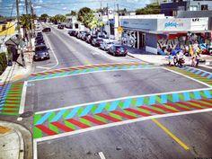Painted crosswalks by Carlos Cruz-Diez