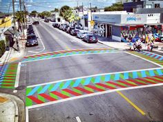 Painted crosswalks by Carlos Cruz-Diez