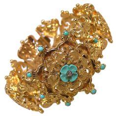 Antique Ornate Gold Cuff Bracelet thumbnail 1