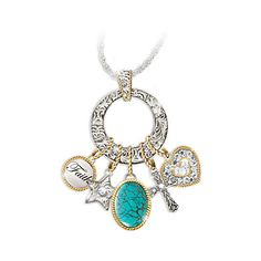 Turquoise Pendant Necklace With Western Style Charms and Swarovski Crystals featuring polyvore, women's fashion, jewelry, necklaces, cross pendant necklace, star pendant necklace, heart charm necklace, turquoise pendant necklace and turquoise cross necklace