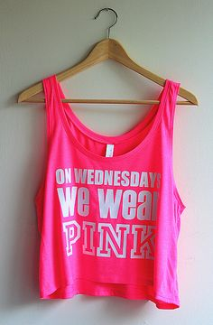 On Wednesdays We Wear Pink Cropped Tank Top - White on Neon Pink - Yotta Kilo