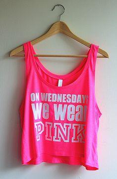 On Wednesdays We Wear Pink Cropped Tank Top - White on Neon Pink - Yotta Kilo