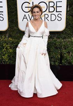 Sarah Jessica Parker in Vera Wang sul red carpet dei Golden Globe 2017.