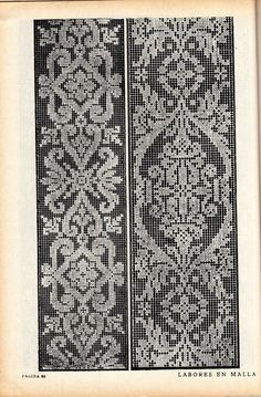 Labores en malla - lini diaz - Веб-альбомы Picasa Crochet Borders, Filet Crochet, Crochet Lace, Vintage Crochet, Pillowcase Pattern, Crochet Curtains, Knitting Charts, Knitting Stitches, Needle Lace