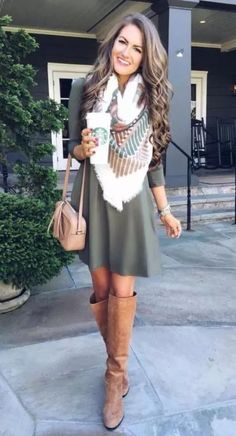 Elegant winter outfit ideas olive dress, tall boots and blanket scarf