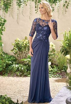 Brides: Jade by Jasmine. Caroline Sequin Lace/Jade Tiffany Chiffon with Stretch lining dress with a boat neckline and long, fitted sequin lace sleeves. Flare skirt with gathers in the front and back - all in the color navy.  Plus size available.