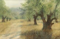 "Сергей Курбатов ""Оливковая роща II"", бумага-акварель, 60х40 см ""Olive-wood II"" watercolor on paper"