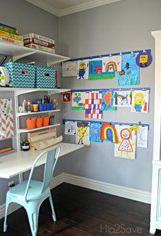 Diy kid's artwork display wall eli's bedroom Kids Art Area, Kids Art Space, Kids Art Table, Kids Room Art, Art For Kids, Kids Art Corner, Kids Study, Kid Art, Kids Rooms