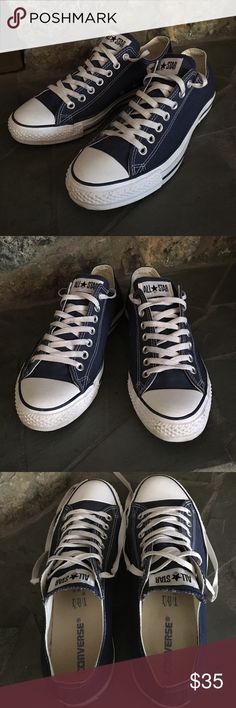 CONVERSE Shoes Unisex Converse Navy Blue Canvas Upper All Star Shoes Men's 9 Women's 11. These were worn Only A few Times, They're in Excellent Condition. Converse Shoes Sneakers