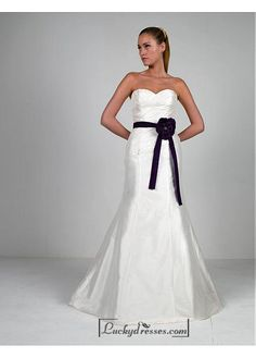 Beautiful Elegant Taffeta & Satin Sweetheart Wedding Dress In Great Handwork Sale On LuckyDresses.com With Top Quality And Discount