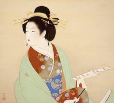 上村松園《詠哥》1942(昭和17)年 絹本・彩色 山種美術館