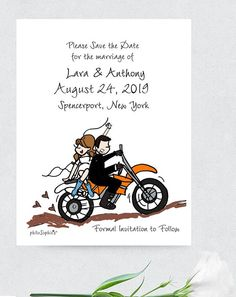 Wedding Save the Date with Couple and Background Illustration -  Magnets