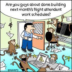 Flight attendants have really weird work schedules. I wonder why? #aviationhumor #flightattendants #aviationcartoons