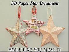 3D Paper Star Ornament Tutorial