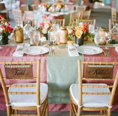 Copper place cards on backs of chivari chairs shot by A Bryan Photo