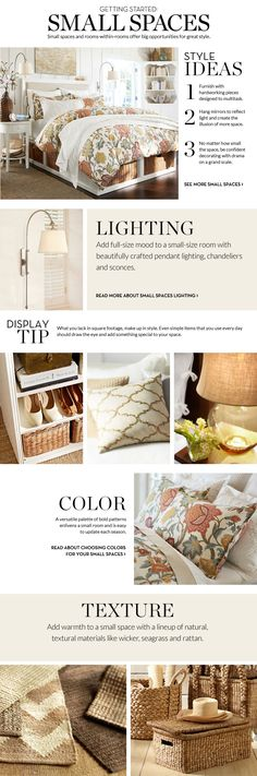 Small Spaces Inspiration & How to Decorate Small Spaces | Pottery Barn    The lamps!