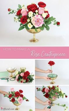 How To Make A Rose Centerpiece Create this everlasting silk rose centerpiece with the simple … Flower Arrangements Simple, Wedding Flower Arrangements, Artificial Floral Arrangements, Rose Centerpieces, Diy Wedding Flowers, Wedding Bouquet, Garden Types, Arte Floral, Deco Table