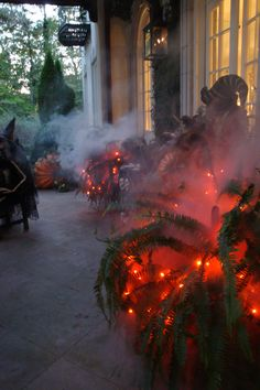 Flicker bulbs and strands of red and orange lights with a fog machine... very cool look