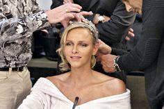 Princess Charlene wearing her Ocean tiara