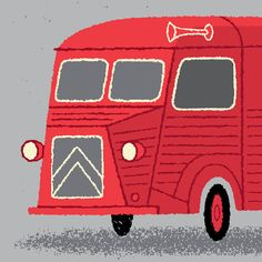 Tour de France Broom Wagon Art Print in Red by gumo on Etsy,
