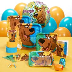Scooby-Doo Mod Mystery Standard Pack - Standard Pack for 8 includes: (8) invitations, dinner plates, dessert plates, cups, forks, spoons, (16) napkins, solid-color tablecover, foil balloon, (12) balloons (2 colors), curling ribbon (2 colors), crepe paper rolls (2 colors), and cake candles.