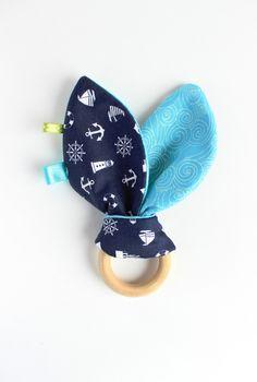 Baby boy toy, wooden teether, Bunny ear teether, Teething ring, wood teething toy, Baby teether, Nautical baby gift, Ahoy baby boy by TildaArt on Etsy