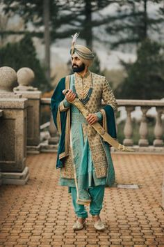 Sherwani for the Sikh groom You are in the right place about Groom Outfit blue Here we offer you the most beautiful pictures about the Groom Outfit black you are looking for. When you examine the Sher Sherwani For Men Wedding, Wedding Dresses Men Indian, Wedding Outfits For Groom, Sherwani Groom, Wedding Dress Men, Punjabi Wedding, Indian Weddings, Wedding Couples, Wedding Groom