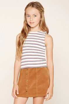 Girls Buttoned Corduroy Skirt (Kids) #f21kids