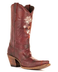 They just stole my heart. They are made in wide width. LOVE! Lucchese Women's Gardenia Floral Boot - Red Oklahoma