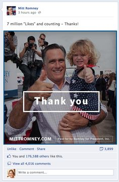 Romney 7 million Facebook fans