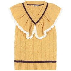 Miu Miu Ruffled-collar Cable-knit Wool Sweater In Mimosa Wool Vest, Knit Jacket, Sweater Vests, Pretty Outfits, Cool Outfits, Fashion Outfits, Miu Miu, Winter Blouses, Jackets