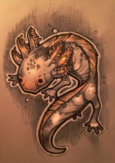 a litl axolotl tatto design