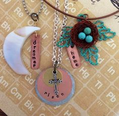 Stamped mixed metal jewelry.