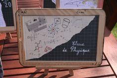 Décoration Mariage sur le thème de l'école Wedding decoration on the theme of school Ardoise nom de la table : Classe de Français