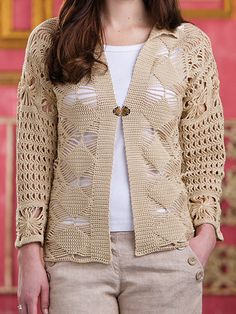 Free Crochet Pattern Download -- This Macrame Cardigan, designed by Shannon Mullett-Bowlsby, is featured in episode 3, season 5 of Knit and Crochet Now! TV. Learn more here: https://www.anniescatalog.com/knitandcrochetnow/patterns/detail.html?pattern_id=15&series=2