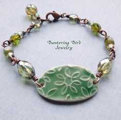 Green Ceramic Oval Bracelet Small Delicate Beaded by BanteringBird