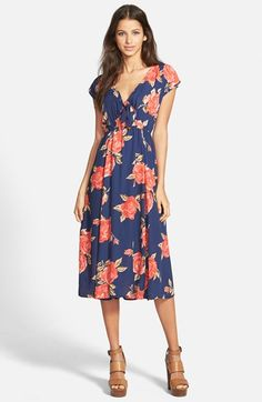June & Hudson Tie Open Front Midi Dress available at #Nordstrom