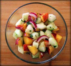 Cucumber & Peach Salad w/Basil-Mint Vinaigrette