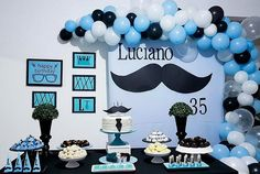 Little Man Birthday Party Ideas, Rustic Birthday Parties, 80th Birthday Decorations, Dinner Party Decorations, 1st Boy Birthday, Baby Shower For Men, Mustache Party, Baby Shower Balloons, Trendy Baby
