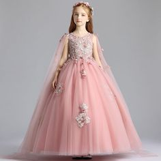 Chic / Beautiful Pearl Pink Flower Girl Dresses 2019 A-Line / Princess Scoop Neck Sleeveless Appliques Lace Flower Pearl Watteau Train Ruffle Wedding Party Dresses - Flower Girl Dresses - Pink Flower Girl Dresses, Dresses Kids Girl, Baby Girl Party Dresses, Wedding Party Dresses, Bridesmaid Dresses, Baby Girl Dress Patterns, Lace Flowers, The Dress, Frocks