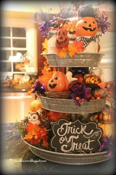 It's time for Halloween decorations in the galvanized tiered tray. A trick or treat chalkboard is front and center. Owl salt and pepper shakers from BHG at Walmart. Thanksgiving Decorations, Seasonal Decor, Halloween Decorations, Holiday Decor, Fall Decorations, Adornos Halloween, Manualidades Halloween, Fall Home Decor, Autumn Home