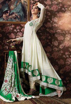 White & Green Georgette Designer Anarkali Salwar Kameez. Free Shipping on All Designer anarkali salwar kameez.  #Salwer #Indianfashion #BollywoodFashion #Anarkali #PakistaniSalwerKameez #indianSalwarKameez #PartySalwarKameez