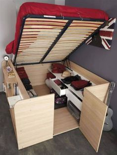 Parisot Space Up Bed and Storage, the Hidden Storage Bed. The hidden treasure of the Space Up bed is the hidden storage area underneath. Home Diy, Diy Storage Bed, Small Spaces, Tiny Spaces, Bedroom Design, Furniture, Tiny House Storage, Space Saving Furniture, Home Decor