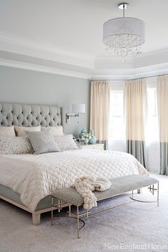 Classy bedroom - love the drapes, and headboard