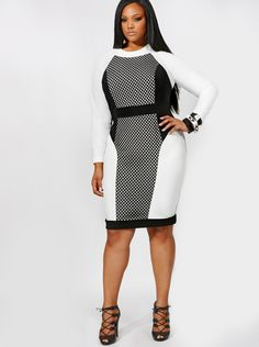 """Paige"" Mesh Insert Color Block Dress - Ivory - Day Dresses - Clothing - Monif C"