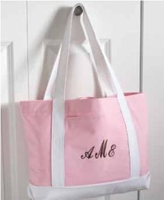 Personalized Pink & White Canvas Tote from Wedding Favors Unlimited