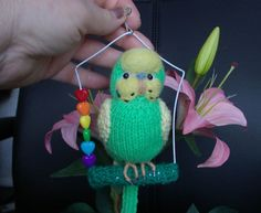 "Budgerigar  Knitted life size Budgie  ""Danny "" swing and hat  + christmas hat"