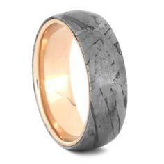 14k Rose Gold Wedding Band, Seymchan Meteorite Ring-3541