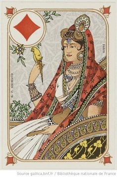 Wonderful Indian themed Art Nouveau playing cards by Grimaud, circa 1890. Founded in 1848 in Paris, maison Grimaud has been the French leader in the production of premier playing cards for a long time (the company closed in 1962).